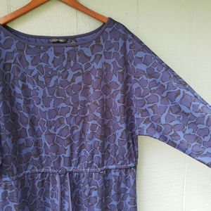 H by Halston 1X Printed Drop Waist Dress LS Blue
